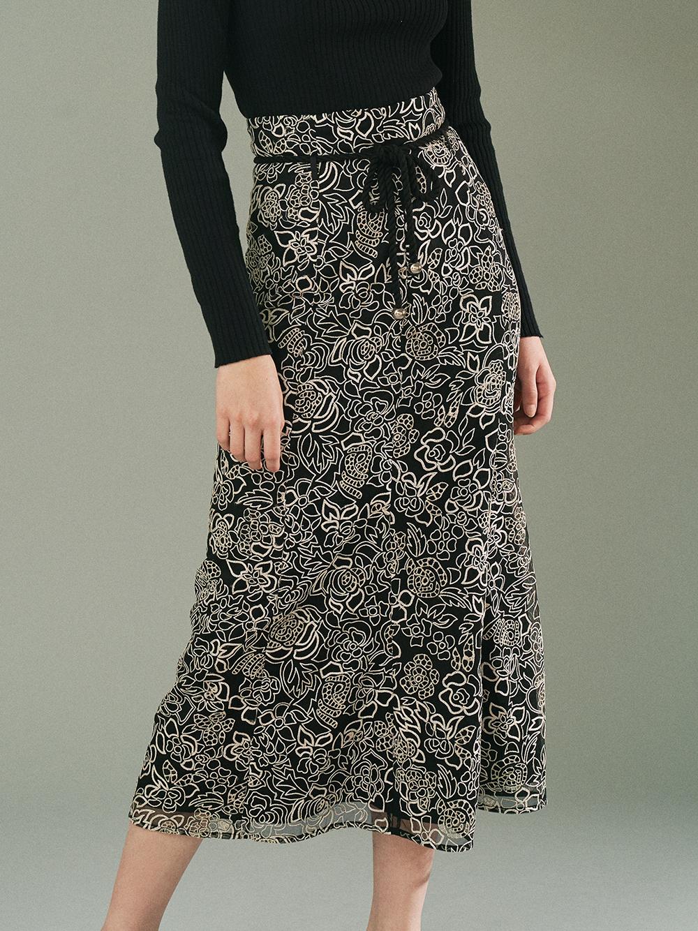 刺繍レースマーメイドスカート(BLK-0)