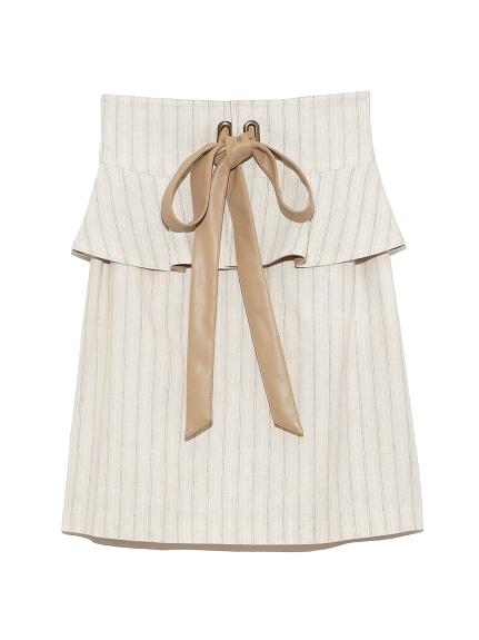 ぺプラムベルト付スカート(BEG-0)