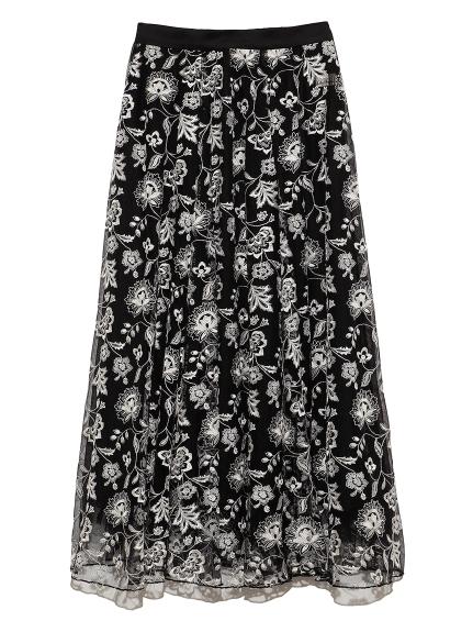 オリエンタル刺繍スカート(BLK-F)