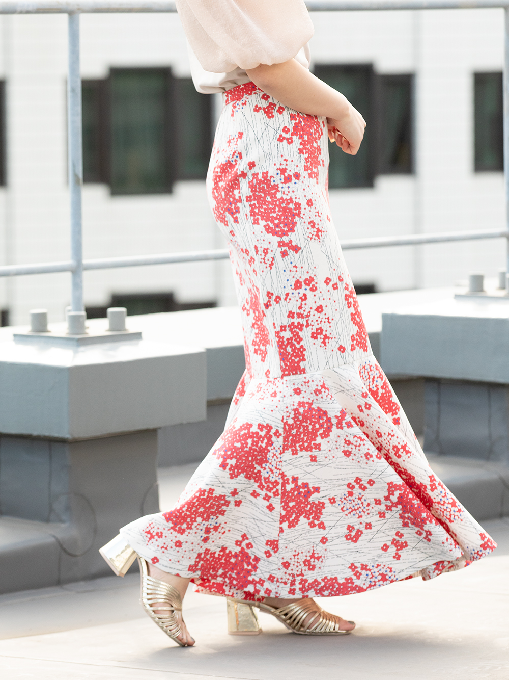 【限定】紫陽花柄マーメイドスカート