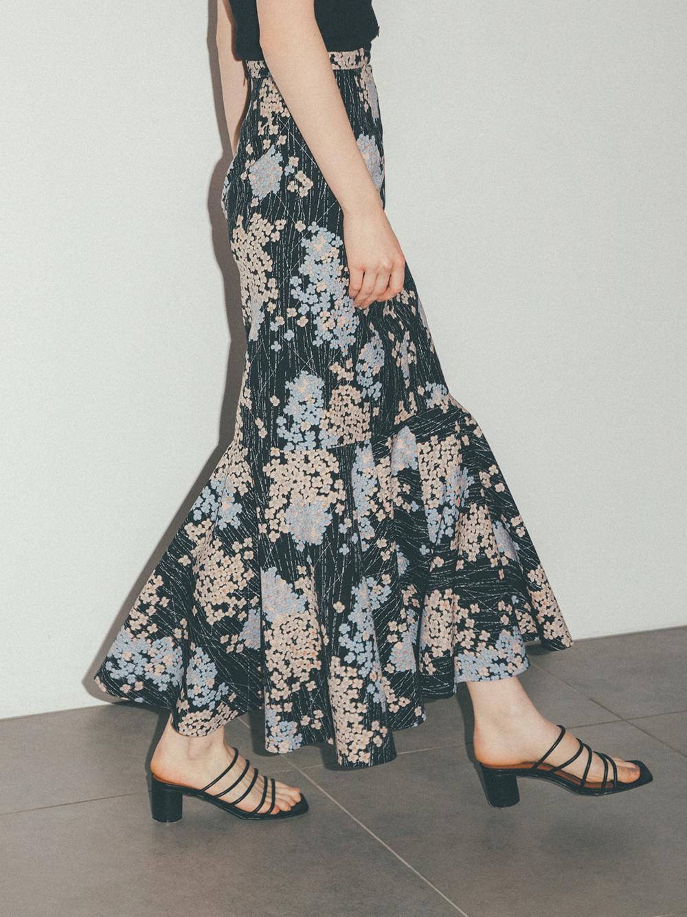 【限定】紫陽花柄マーメイドスカート(BLK-0)