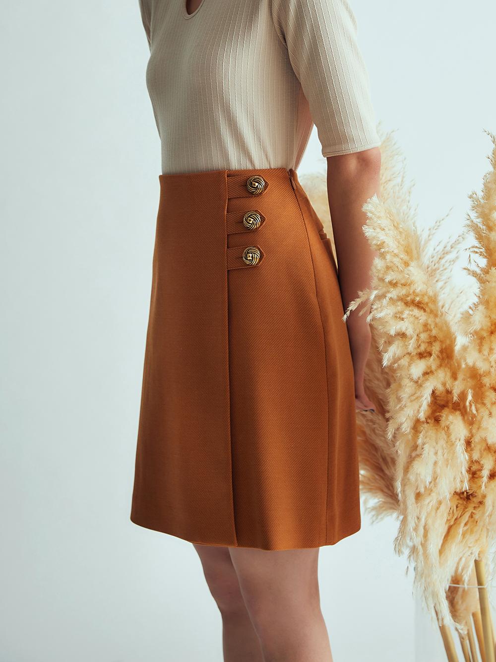 サイド釦デザインミニスカート