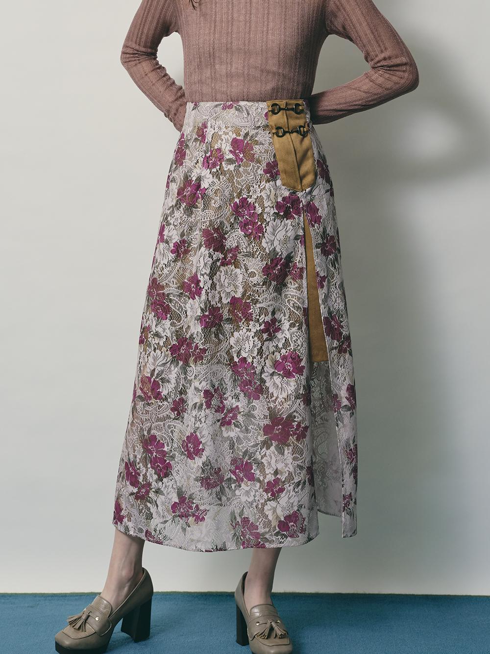 プリントレーススカート