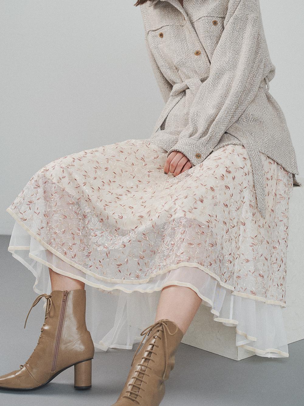 チュール刺繍スカート(OWHT-F)