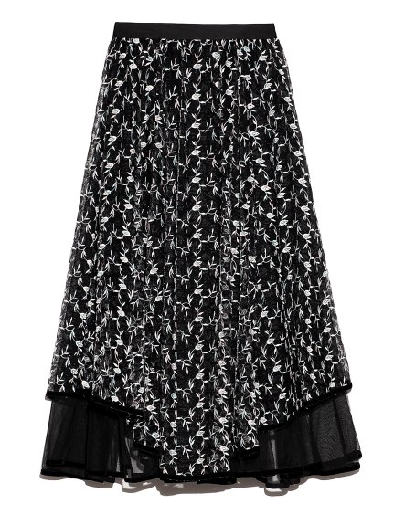 チュール刺繍スカート
