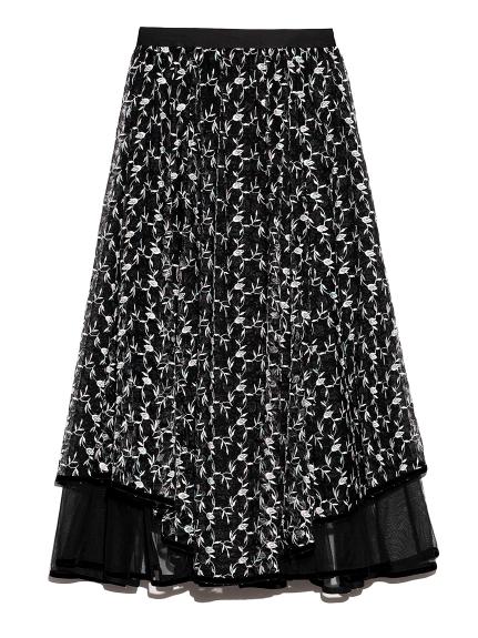 チュール刺繍スカート(BLK-F)
