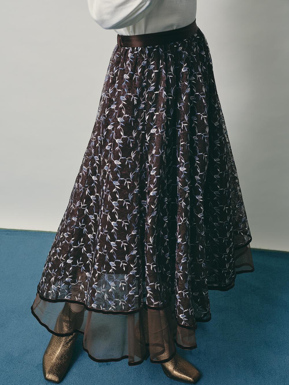 チュール刺繍スカート(BRW-F)