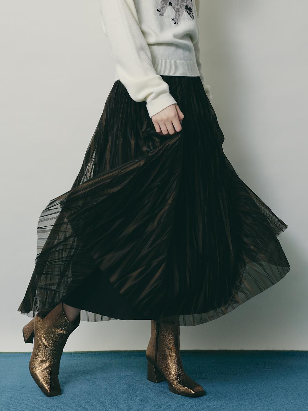 変形シアープリーツスカート(BLK-F)