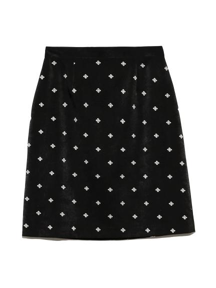 小紋刺繍スカート(BLK-0)