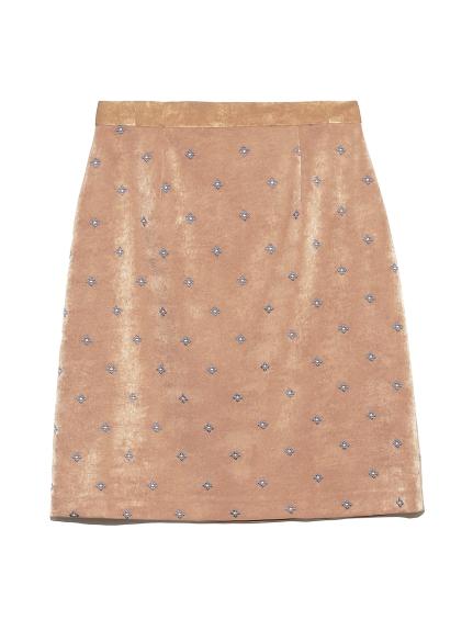 小紋刺繍スカート(BRW-0)