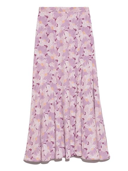 パネル切替花柄ロングスカート