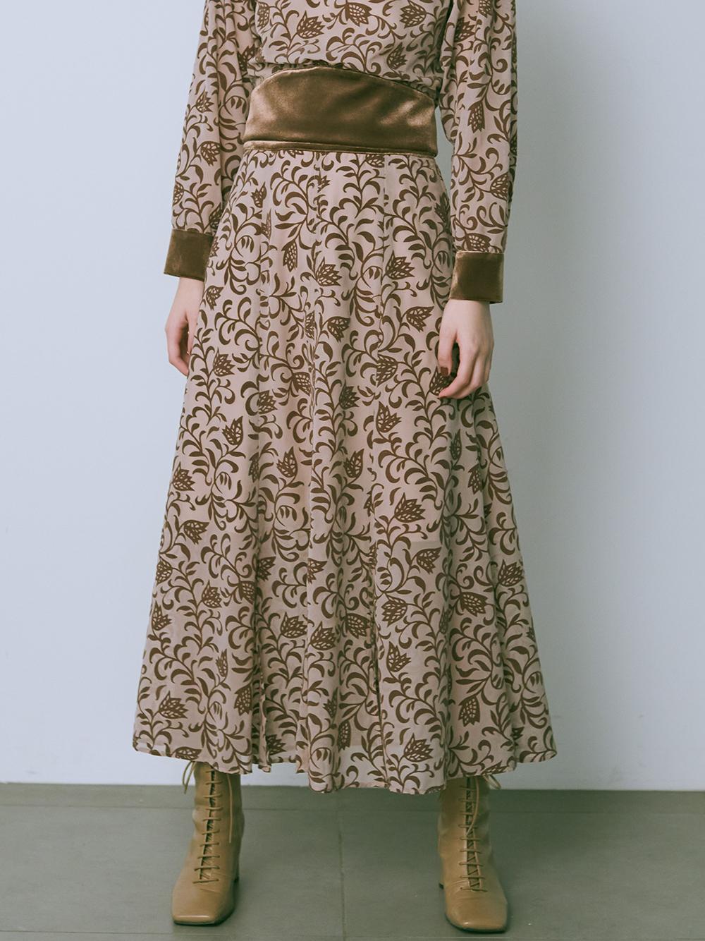 フラワーフロッキースカート(BEG-0)