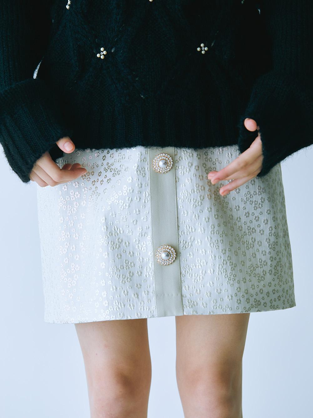 [L.B CANDY STOCK]ビジュー釦ミニスカート