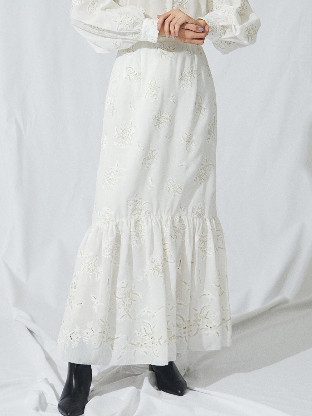 フラワー刺繍ロングスカート(OWHT-0)