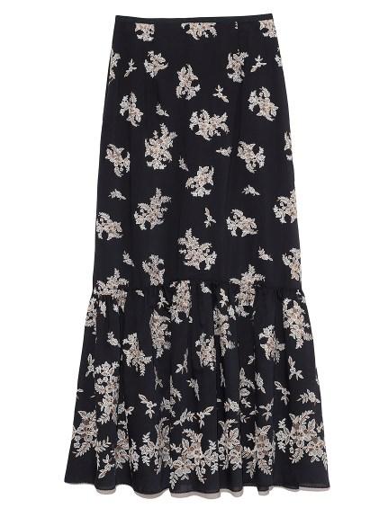 フラワー刺繍ロングスカート(NVY-0)