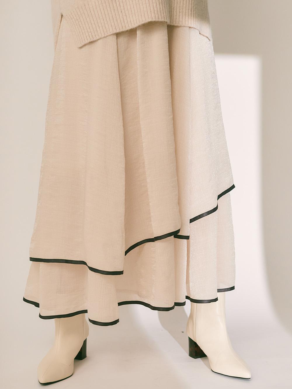 裾パイピングシフォンスカート(IVR-F)