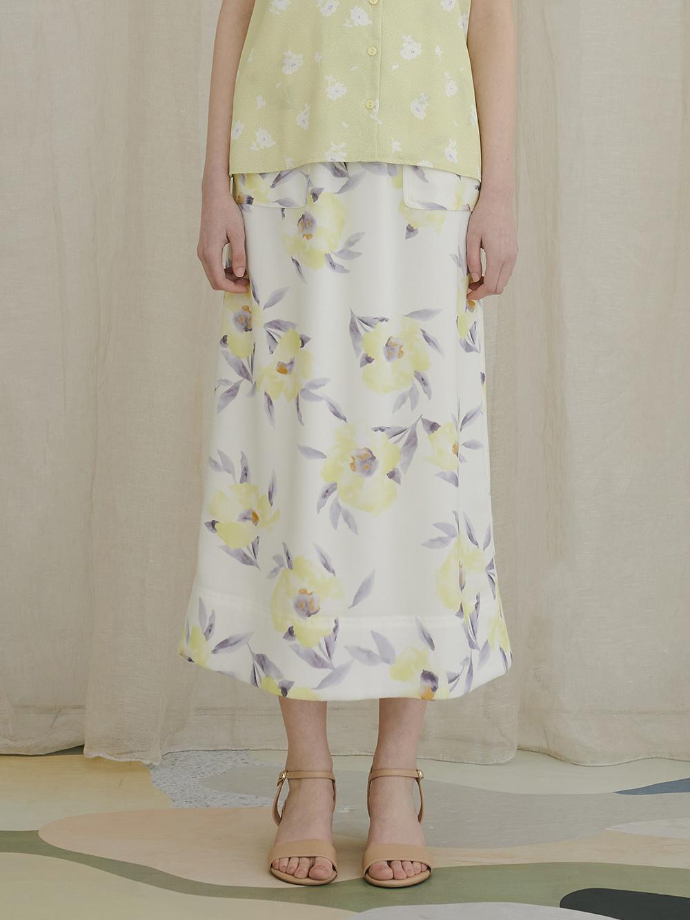 フローラルIラインスカート