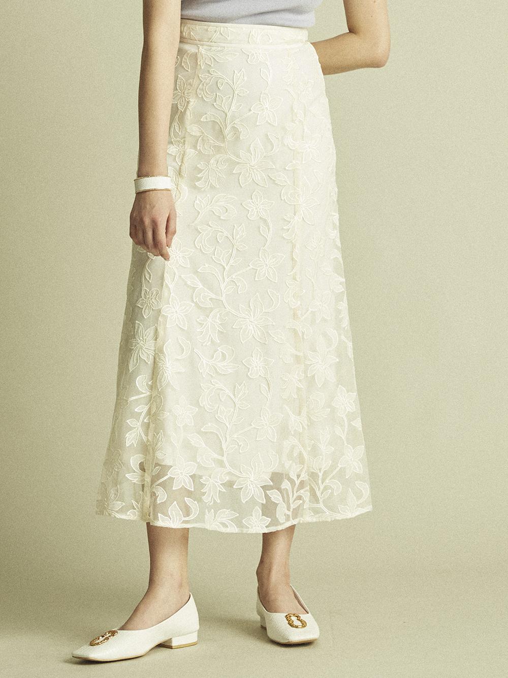 フラワーチュール刺繍スカート(OWHT-F)