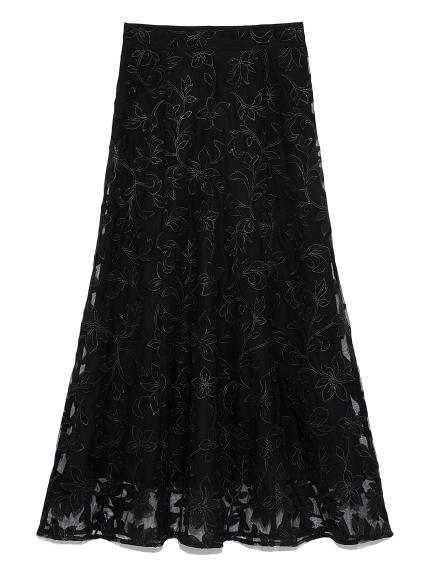 フラワーチュール刺繍スカート(BLK-F)