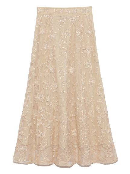フラワーチュール刺繍スカート(YEL-F)
