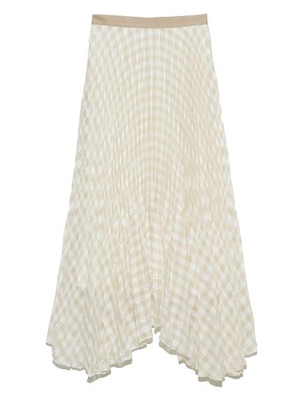 ギンガムチェックプリーツスカート(BEG-F)