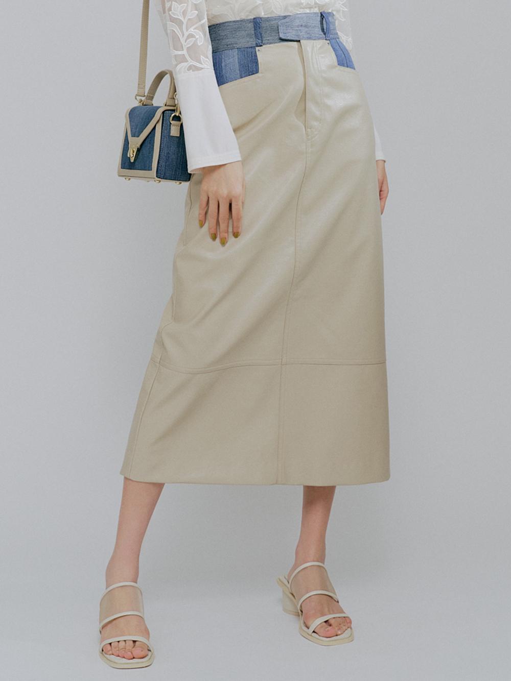 レザースイッチデニムスカート