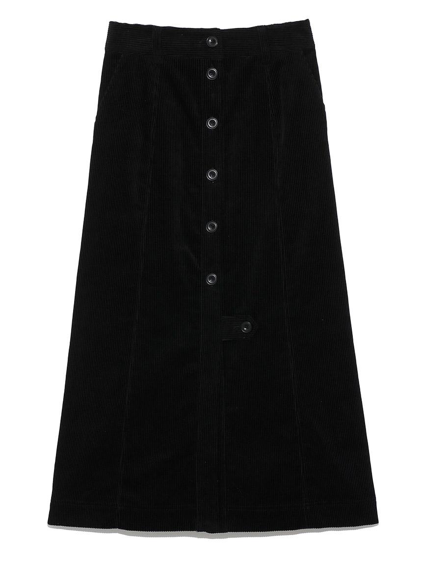 フロントボタンミディスカート(BLK-0)