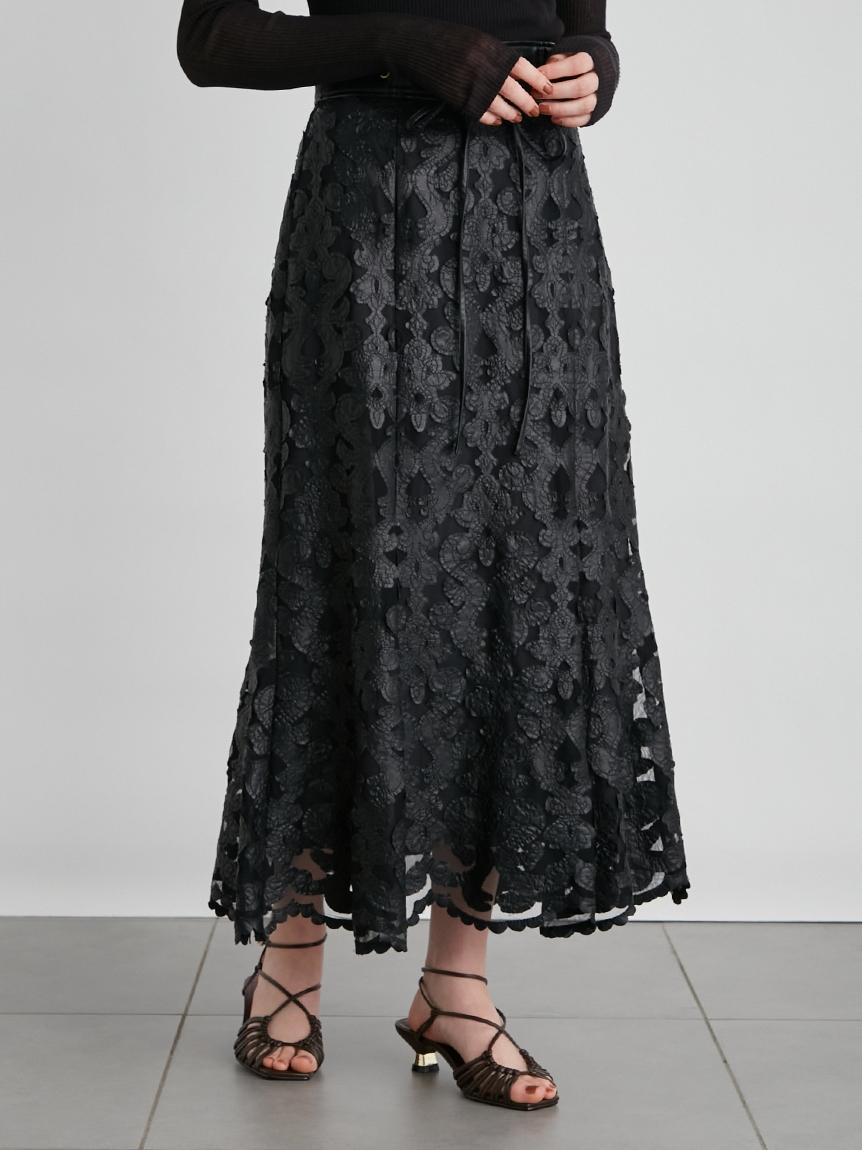 合皮レザー刺繍スカート(BLK-0)