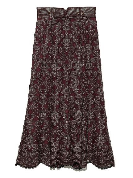 合皮レザー刺繍スカート(BRD-0)