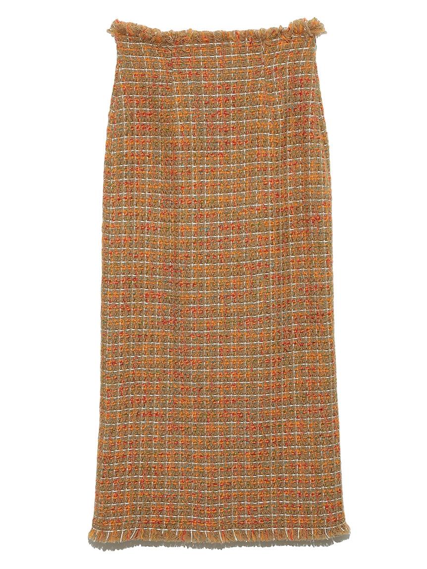 フリンジツィードスカート