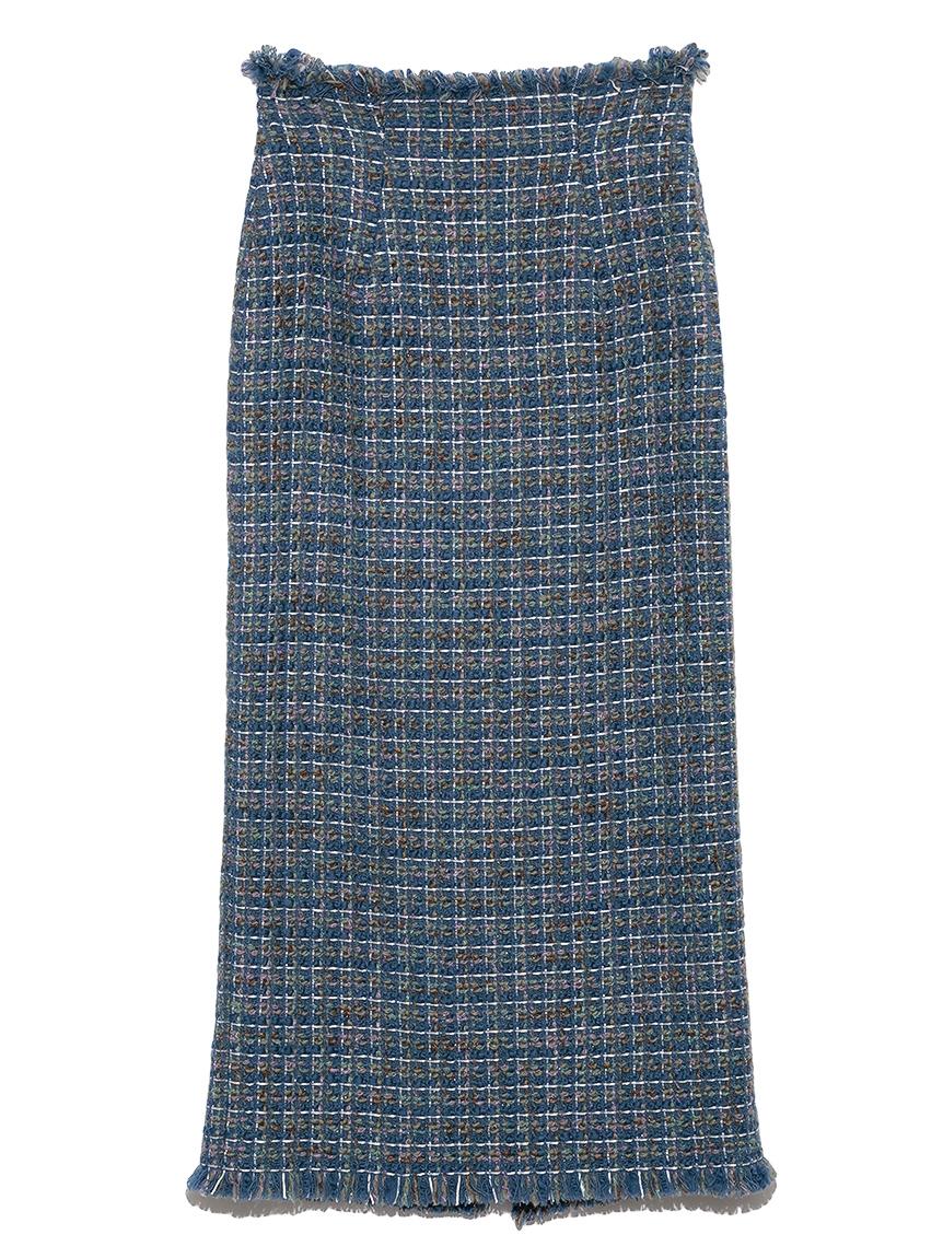 フリンジツィードスカート(BLU-0)