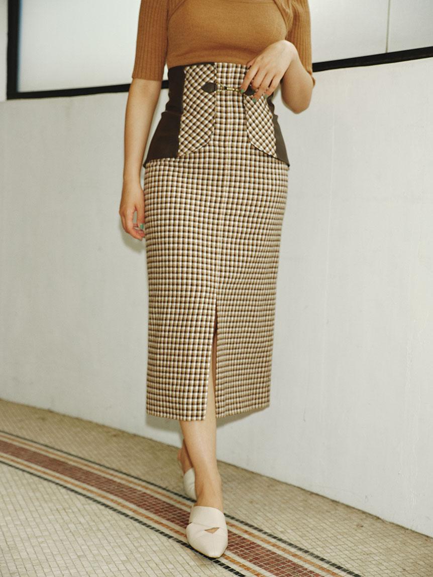 ビット付き合皮切り替えタイトスカート(OWHT-0)