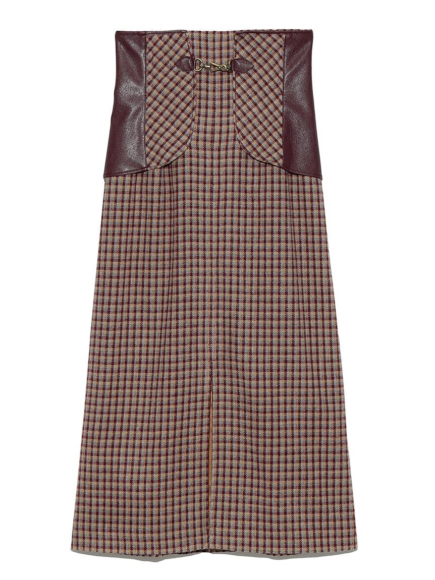 ビット付き合皮切り替えタイトスカート(BRD-0)