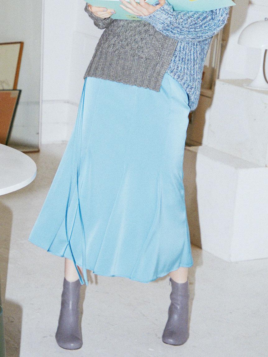 ウエストデザインマーメイドスカート(BLU-0)