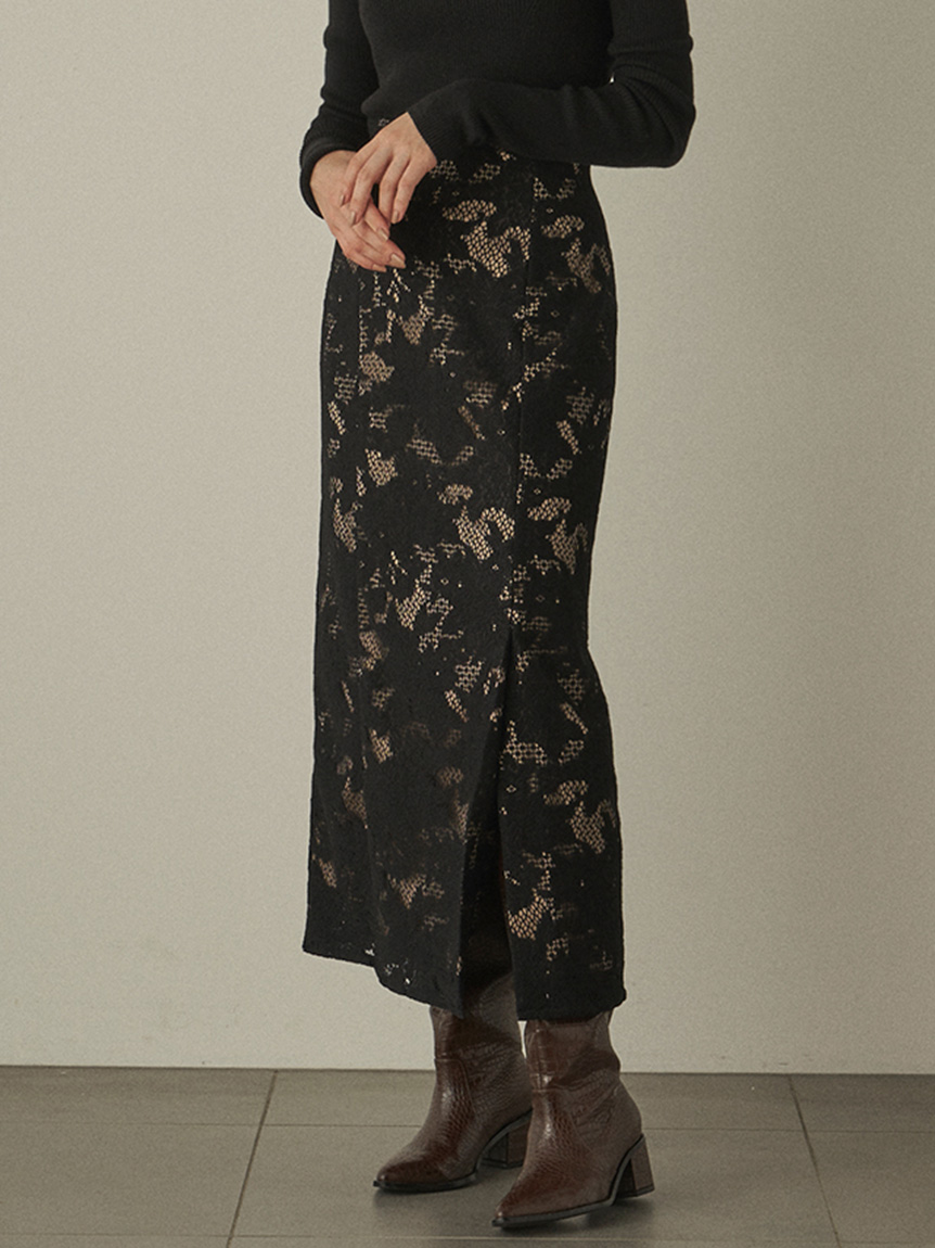 スリットレースタイトスカート(BLK-0)