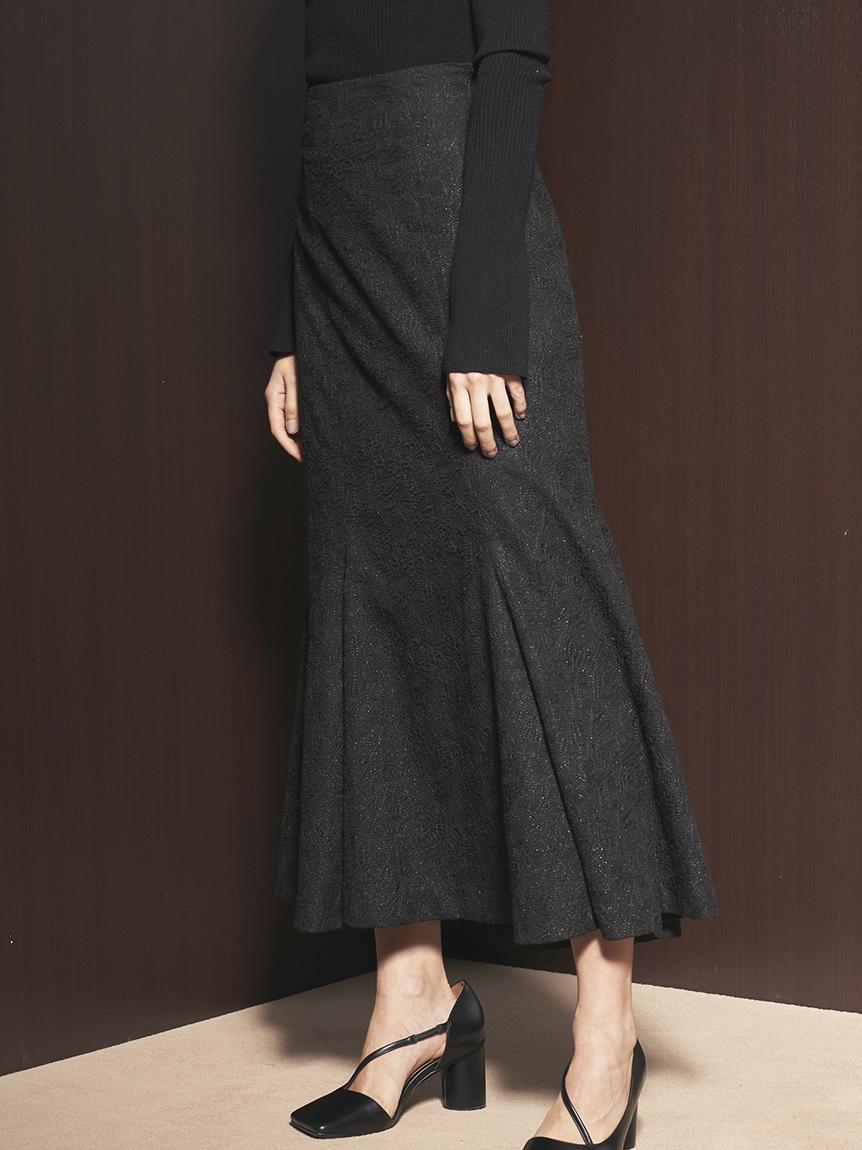 【限定サイズ】リリー刺繍マーメイドスカート(BLK-<オンライン限定>00)