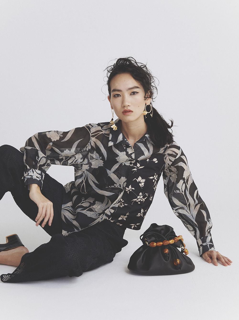 シースルー花柄レイヤードシャツ(BLK-F)