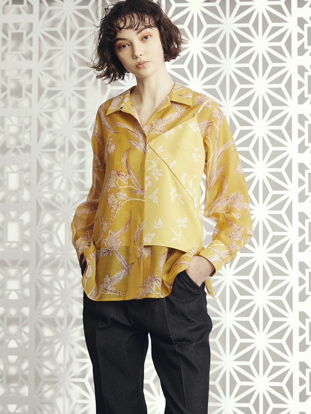 【限定】シースルー花柄レイヤードシャツ