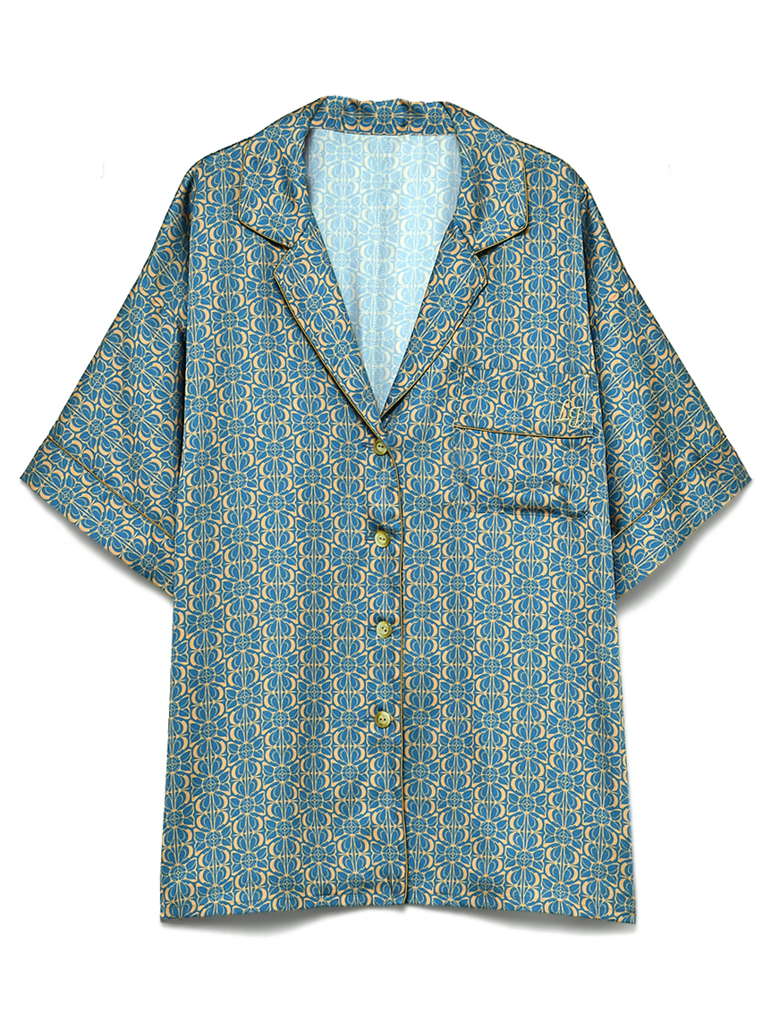 サテンパイピングシャツ(BLU-F)