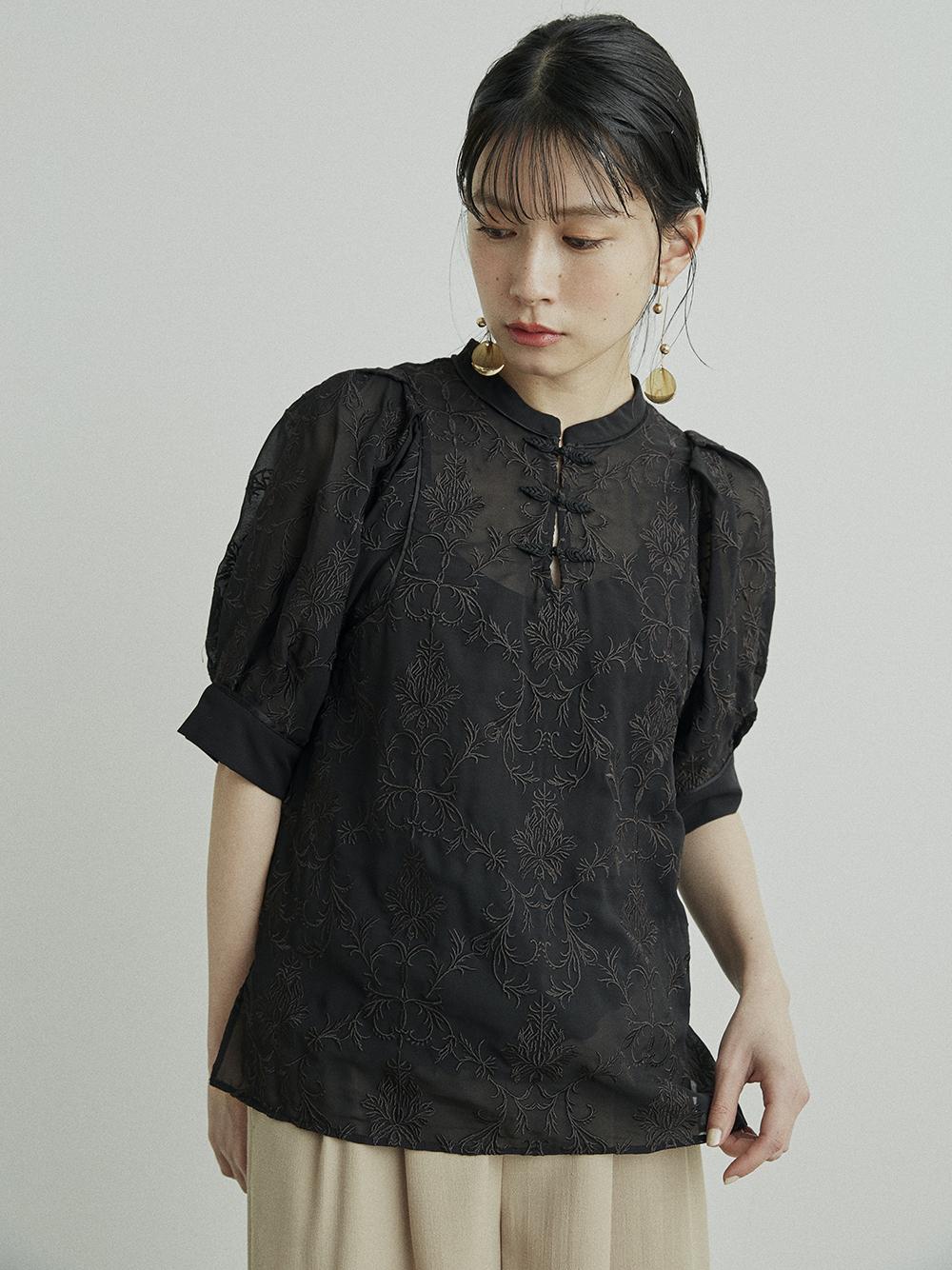 オリエンタル刺繍チャイナトップス(BLK-F)
