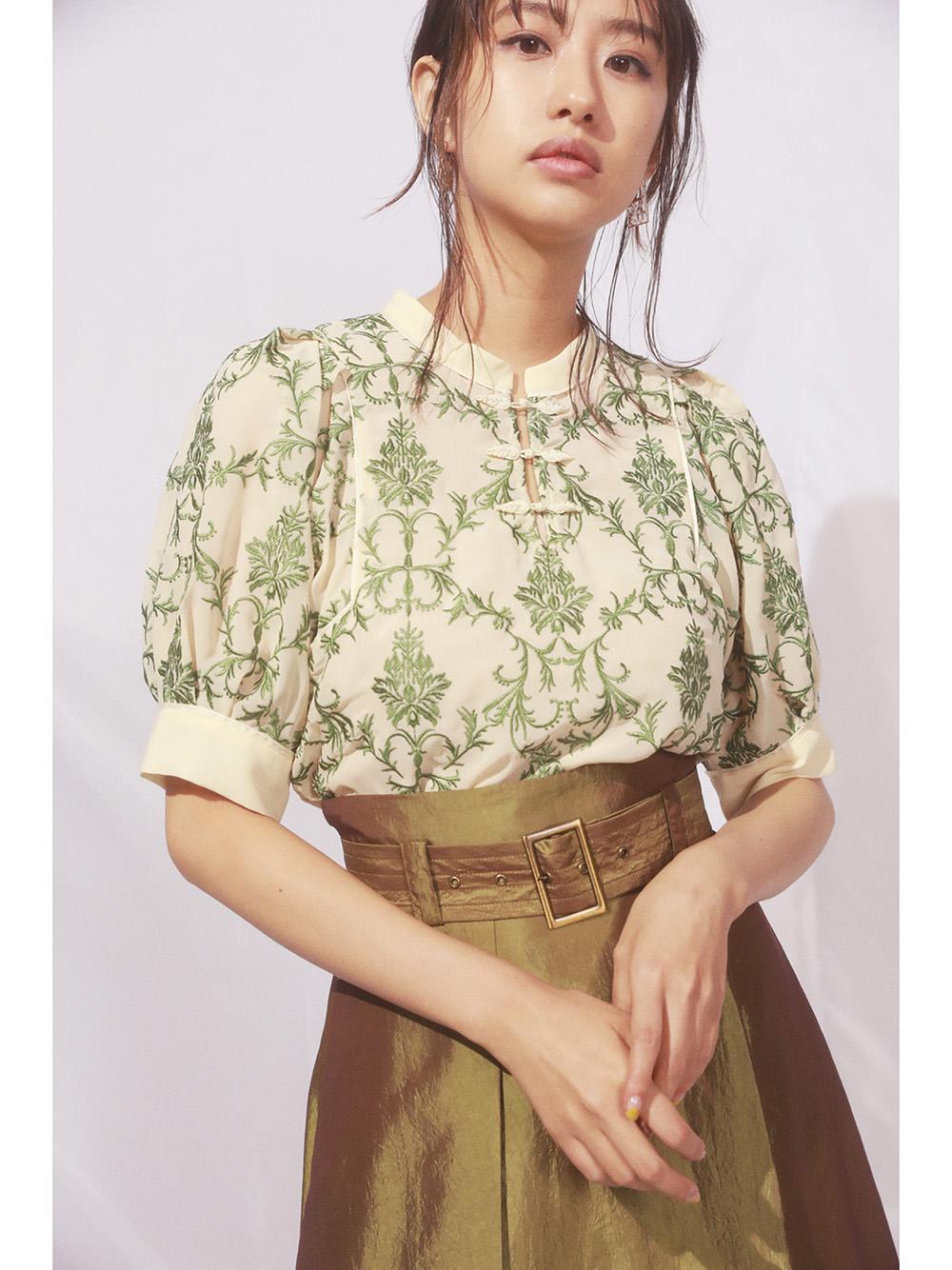 オリエンタル刺繍チャイナトップス(YEL-F)