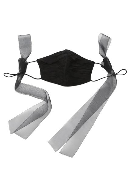 巾着付リボンマスクセット(BLK-F)
