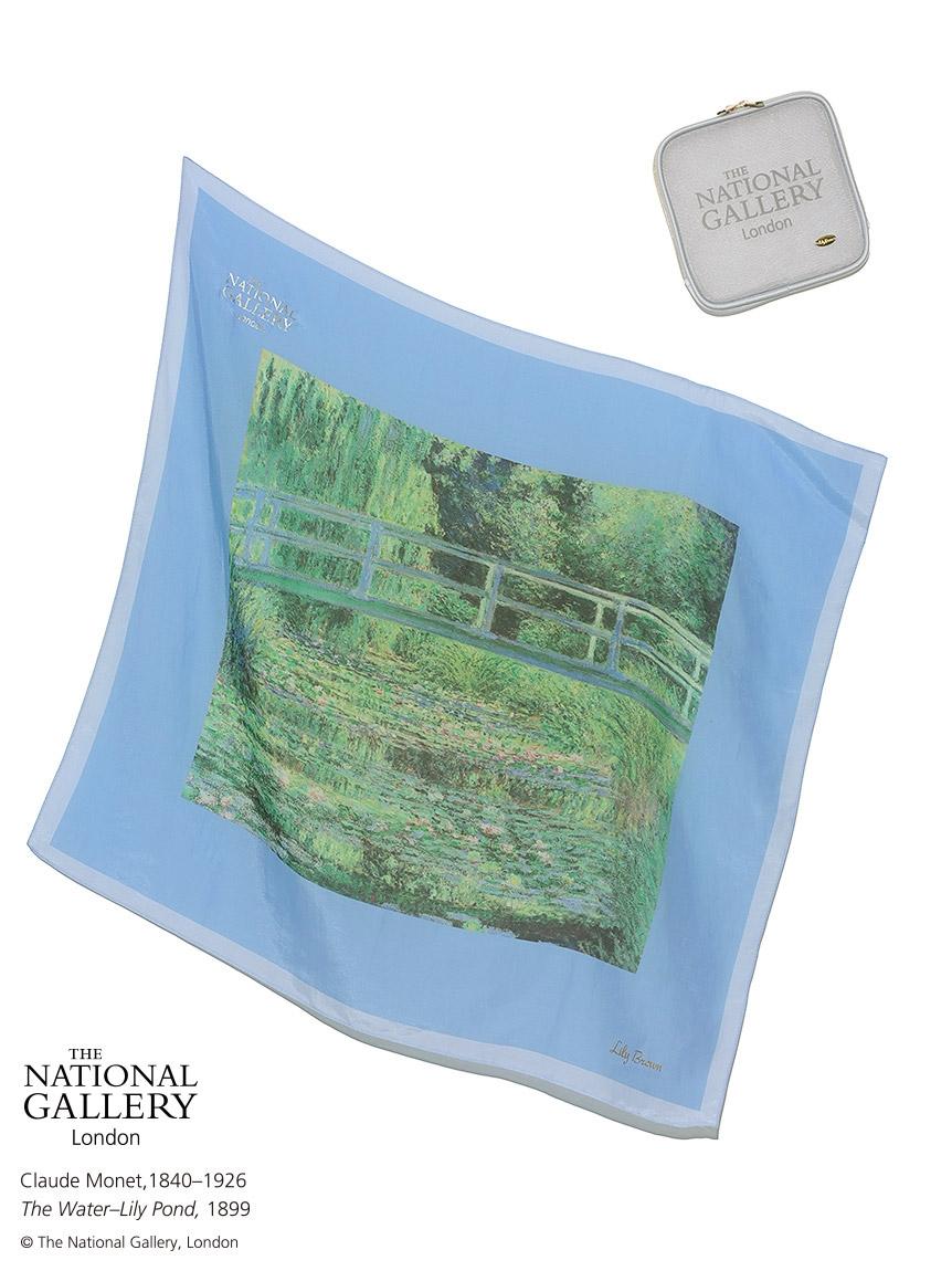 【The National Gallery, London】プリントスカーフ(ポーチ付き)(BLU-F)