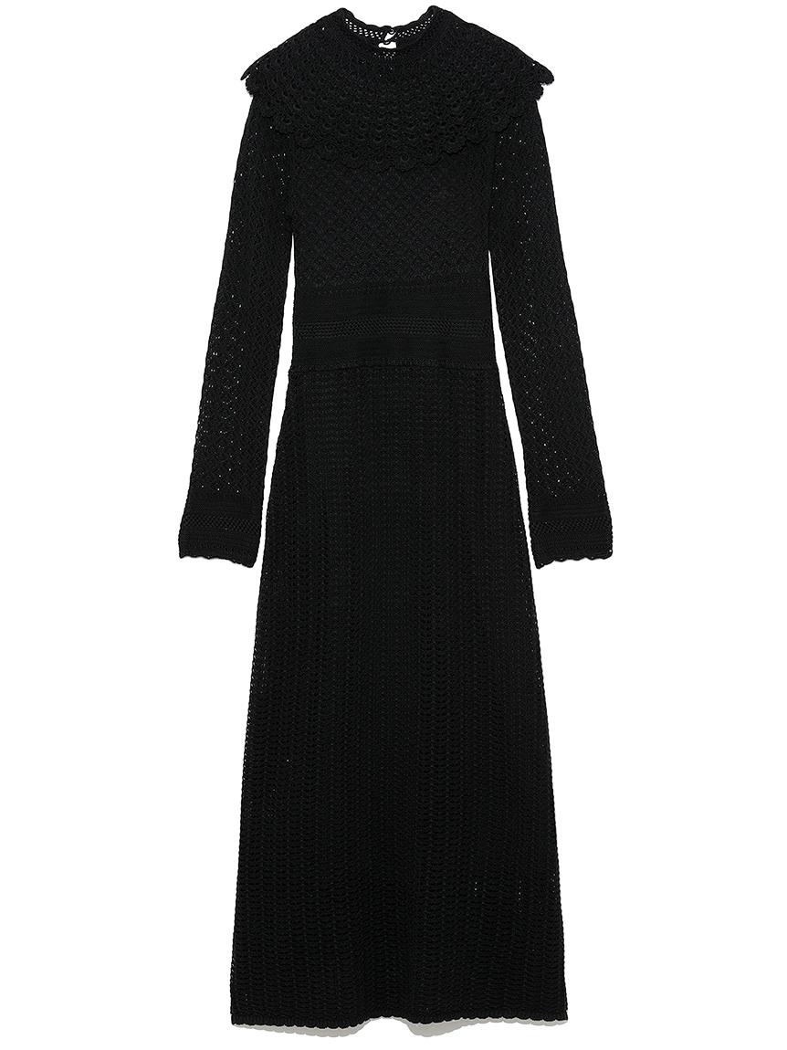 クロシェライク衿付きワンピース(BLK-F)