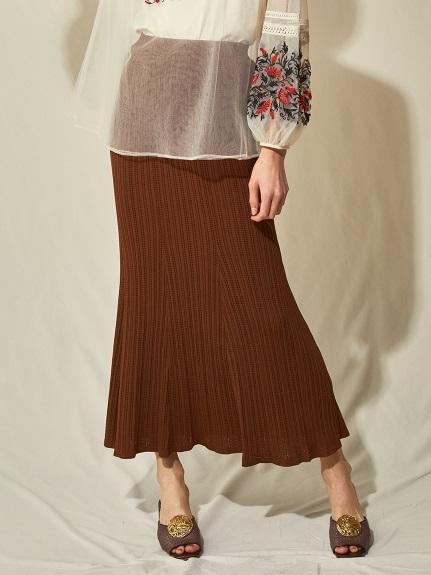 透かし柄編みニットスカート(BRW-F)