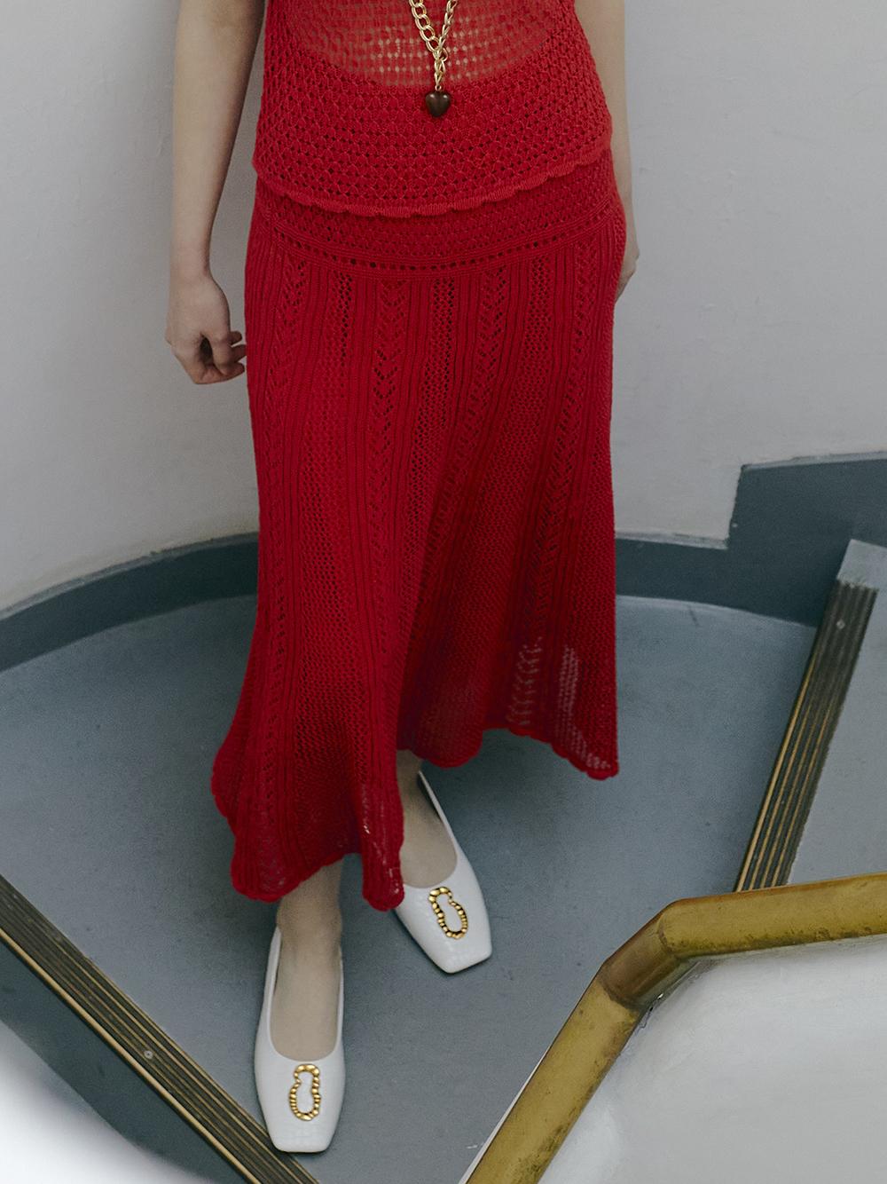 クロシェライクニットスカート(RED-F)