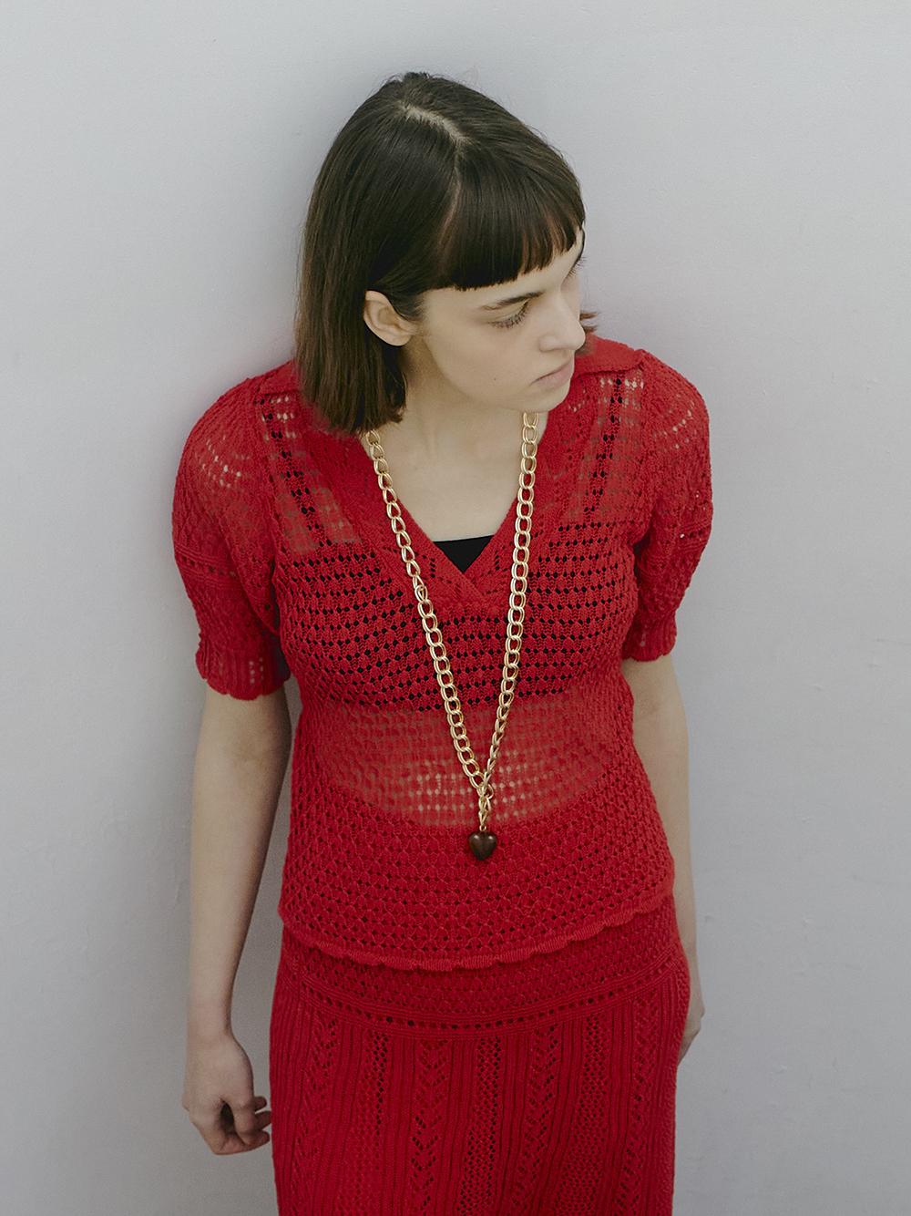 クロシェライク衿付きニットトップス(RED-F)