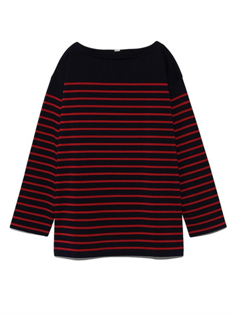 ビッグシルエットボーダ-Tシャツ(RED-F)