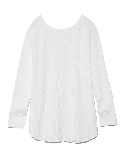 2wayワッフルカットソーロングスリーブTシャツ(WHT-F)