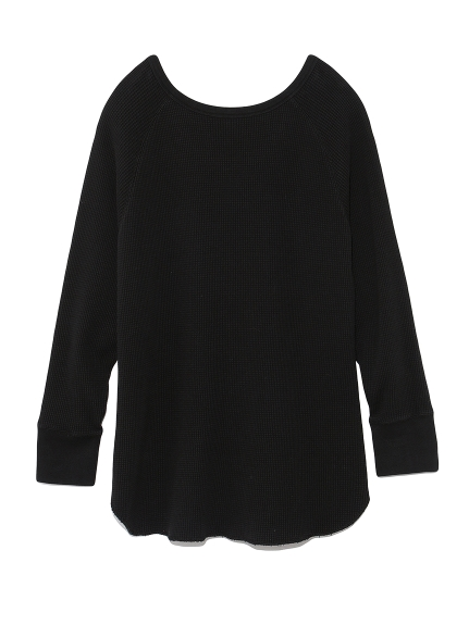 2wayワッフルカットソーロングスリーブTシャツ(BLK-F)